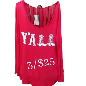 NWT Coveted Clothing Red Y'ALL Long Sleeve Top